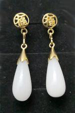 New Fashion White Jade Drop 18KGP Fortune Stud Dangle Earrings
