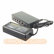 250M 5 Ports 4 PoE Switch Injector Power Over Ethernet 52V 75W + Power adapter