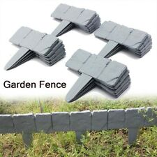 40Pc Garden Lawn Cobbled Stone Effect Plastic Edging Plant Border Palisade Fence
