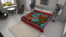 Solaron Blanket throw Thick Ultra Fine Polyester Mink Plush Peacock Heavy Weight