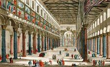 1750c IGLESIA DE SAN PABLO DE ROMA Grabado Iluminado