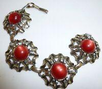 Cool Design RETRO Vintage Red Moon-glow Cabochon Gold Tone 7 Inch Bracelet