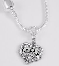 Cheer Necklace cheering chain cheerleader best jewelry gift crystal heart charm