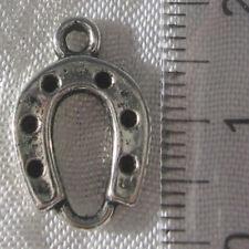 Lot de 5 breloques FER À CHEVAL pendentifs perles en métal argenté 18x12mm *B316