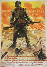 More details for wa81 vintage wwi french propaganda they shall not pass war poster ww1 a1 a2 a3