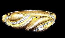JOSEPH MAZER Vintage Gold 'Leaves' and Pave Rhinestone Hinged Bangle Bracelet