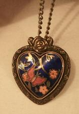 Lovely Rose Top Brasstone Deep Blue Cloisonne Butterfly Pendant Necklace Brooch