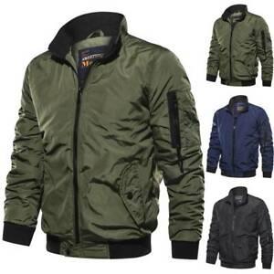 Men Zipper Coat Winter Warm Bomber Bike Jacket Casual Windproof Outwear Tops AU