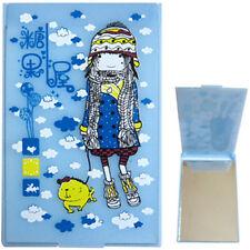 Miroir de poche manga kawaii image fillette bonnet et chien mignon - fond bleu