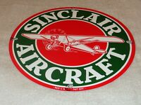 "VINTAGE ""SINCLAIR AIRCRAFT"" AIRPLANE 11 3/4"" PORCELAIN METAL GASOLINE & OIL SIGN"