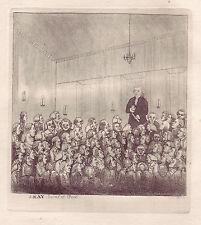 JOHN KAY Original Antique Etching. Dr. James Graham Lecturing in Edinburgh, 1785