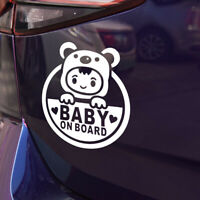 Funny Cool Baby on Board Auto Car Sticker Window Vinyl Decal Decoration White