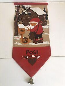 Vtg Jute Tomte Elf Card Holder Scandanavian Banner Christmas Sweden Christmas