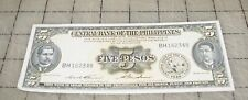 1949 CENTRAL BANK OF THE PHILIPPINES 5 Pesos Used Bank Note - GD Condition
