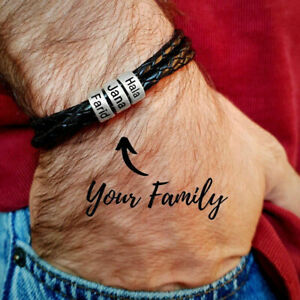 Personalisiertes Armband Edelstahl Echtes Leder Geflochten 1-9 Namen Herren