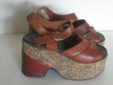 1970's Cork Platform Heel Sandals Shoes Brown Leather Vintage Boho Hippy 6 6.5