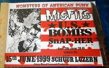 RARE 1999 MISFITS US BOMBS SWISS SHOW GIG POSTER LUZERN HORROR PUNK HARDCORE KBD