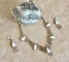 New 5 Stones White Opal Alpaca Silver necklace and earrings set