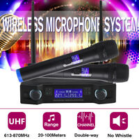 2 Channel Dual Handheld Microphone UHF Professional Wireless Mic Karaoke System