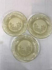 Vintage Amber Yellow Depression Glass Roses Pattern Teacup Saucers Set of 3