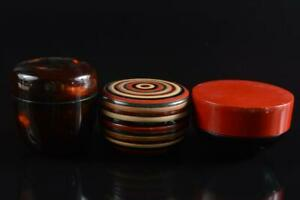 #345: Japanese Wooden Lacquer ware TEA CADDY Natsume 3pcs, Tea Ceremony