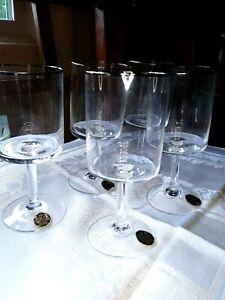"Gildhar Wine Glass LOT 5 Hand Blown Bavaria Platinum Trim Mid Century 4 7/8"""