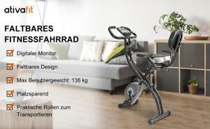 Heimtrainer Fitness Bike,Rückenlehne,Seilsystem,Zugbandsystem,klappbar,Pulsmesse