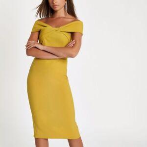 NEW River Island Yellow Twist Front Bardot Midi Dress - 12