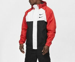 Men Nike NSW Sportswear Swoosh Windbreaker Jacket Black White Red CJ4888 657