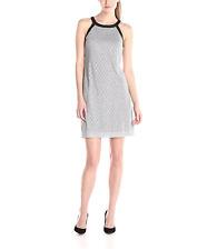 NWT $100 Nine West Disco Diamond Shift Dress Size8 Metallic Silver Faux Leather