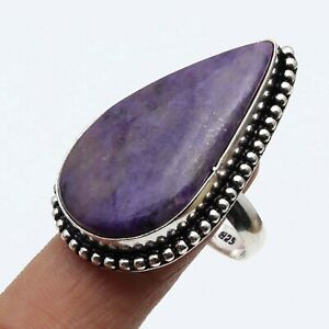 PURPLE CHAROITE & 925 SILVER PLATED RING US 8.5, S-19130