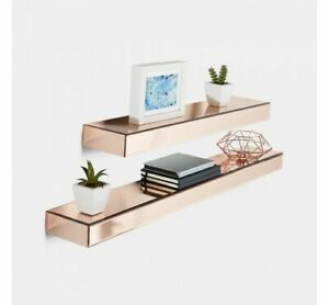 Set Of 2 Rose Gold Floating Mirrored Shelves Womens Bedroom Storage Luxury Decor