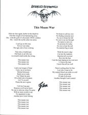 Brooks Wackerman Signed Avenged Sevenfold THIS MEANS WAR Song Lyric Sheet COA