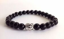 MEN'S Black Onyx Gemstone Tibetan Silver Buddha Beaded Jewelry Stretch Bracelet