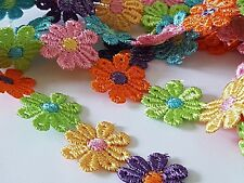 1 Yard EMBROIDERED FLOWER RIBBON-TRIM-APPLIQUE MIXED Approx 25 Motifs at 25MM