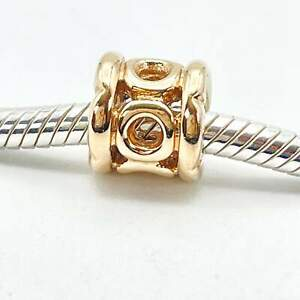 PANDORA 14K Gold Link With Border Charm 750223 - Retired