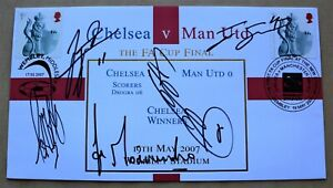 CHELSEA V MANCHESTER UNITED FA CUP 2007 BUCKINGHAM COVER SIGNED BY MOURINHO + 4