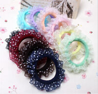 10X Beautiful Lace Girls Elastic Hair Band Hair Rope Scrunchie Ponytail HolderZN