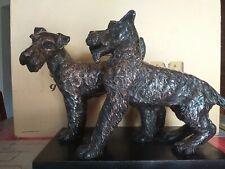 2 Cani SCHNAUZER Figura Greyhound Statua Decorativa PLACCATA SILVER BY SPIGAROLI