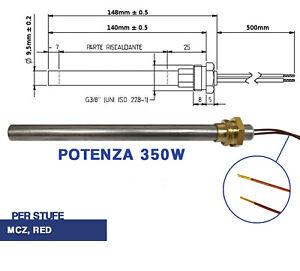 CANDELETTA ACCENSIONE STUFA PELLET RESISTENZA D 9.5 X 148 350W PALAZZETTI 04048