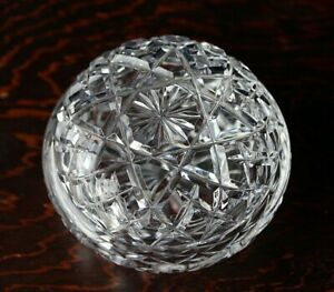 Vintage Crystal Trinket Box With Diamond & Star Patterns
