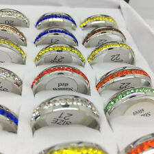 30pcs Fahion Multicolor Stainless steel Rhinestone Rings Jewelry Wholesale lot