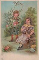 Postcard Easter Greeting Little Boy and Girl Hugging Brown Rabbit