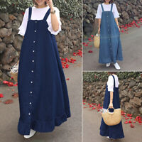 UK Womens Sleeveless Demin Dress Button Down Pinafore Dungaree Dresses Plus Size