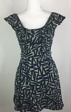 BCBGeneration Dress Blue Green Abstract Print Ruffle Pockets Fit & Flare Size 2