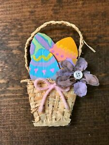Handmade Easter Decoration-Home Decor-Upcycled-Painted Eggs-Basket-Flower-Button
