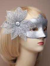 Silver glitter side flower mask, fancy dress, party dress up, eye mask