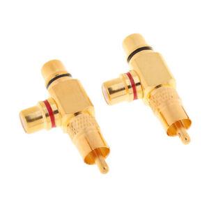 2 x Gold Plated AV Audio Splitter Plug RCA Adapter 1 Male to 2 Female