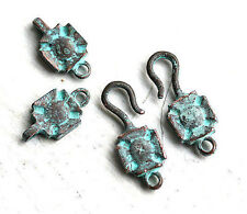 2sets Hook and Eye large clasp Green Verdigris Patina Copper Jewelry making F130