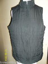 """""""ATHLETIC WORKS"""" Zip Up Vest, Black, Large, Quilted Front/Back,Pockets,Fleece In"""